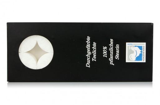 Kerzenfarm Hahn Stearin Teelicht-Set weiß (10St)