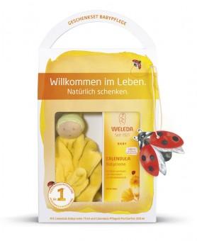 Weleda Calendula Babypflege Geschenkset mit Schmuse-Püppchen